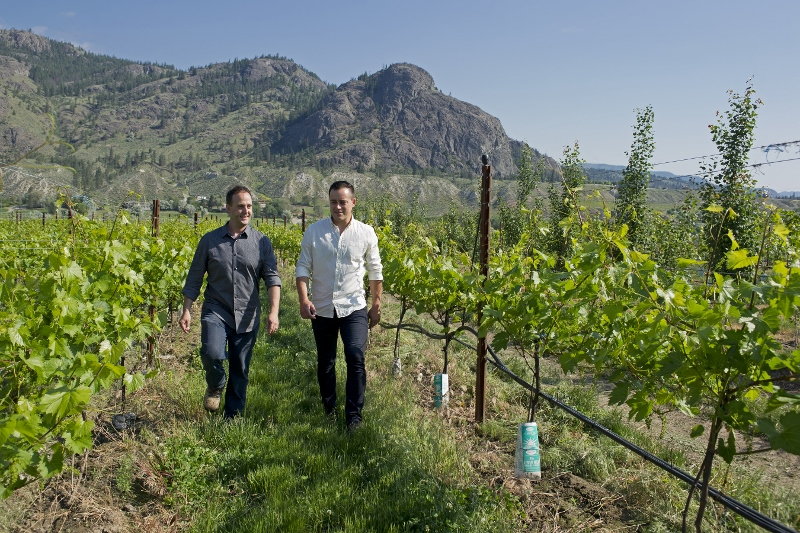 Erik Fisher, General Manager and Galen Bernhardt, winemaker, Monte Creek Ranch winery, view  home vineyard